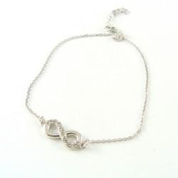 Bransoletka srebrna rodowana Infinity z cyrkoniami