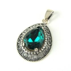 Zawieszka srebrna oksydowana Swarovski Emerald
