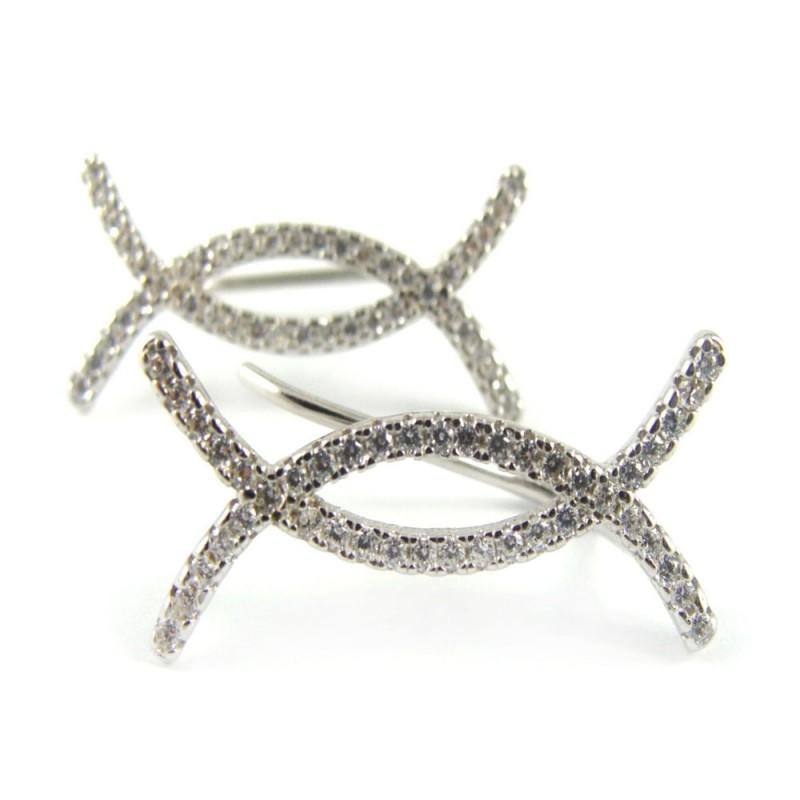 Kolczyki srebrne rodowane - Nausznice