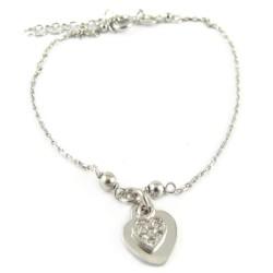 Bransoletka srebrna rodowana serce