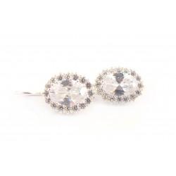 Kolczyki srebrne biała cyrkonia bigiel