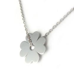 Naszyjnik srebrny rodowany kwiatek