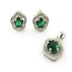 Komplet srebrny zielona cyrkonia