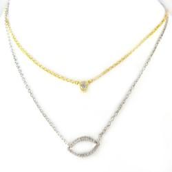 Naszyjnik srebrny dwa łańcuszki