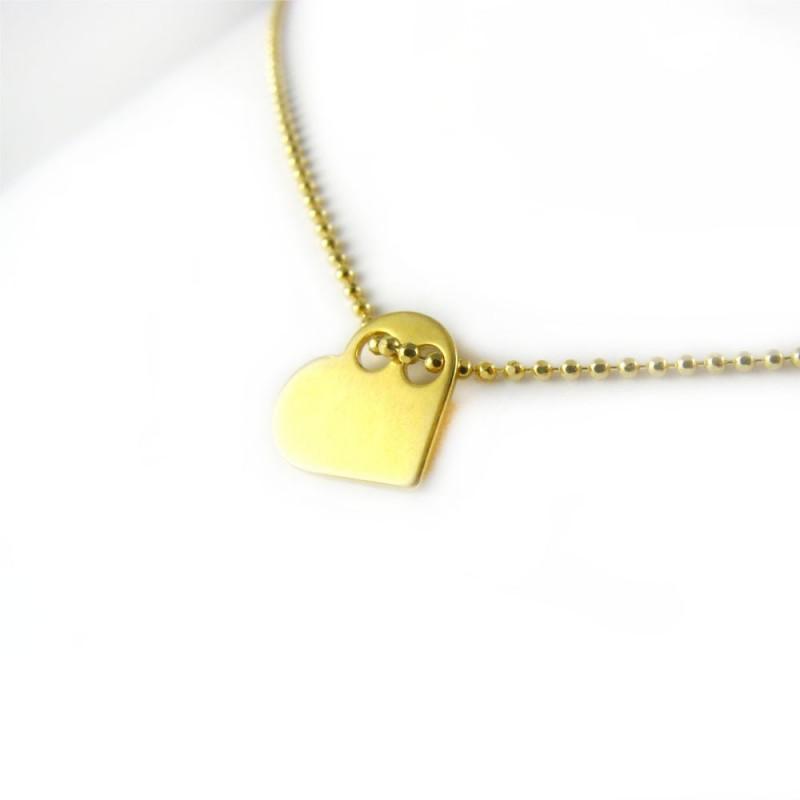 Naszyjnik srebrny pozłacany serce