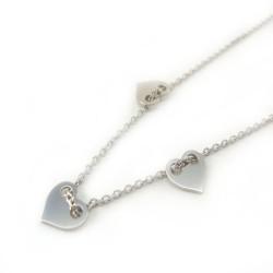 Naszyjnik srebrny rodowany celebrytek serca