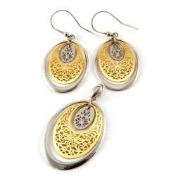 Komplet - biżuteria srebrna pozłacana