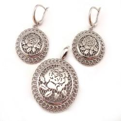 Komplet srebrny rodowany ażurowy róża
