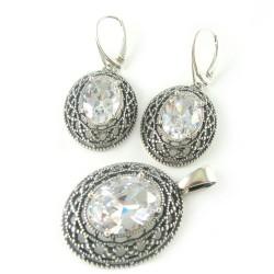 Komplet srebrny oksydowany Swarovski Crystal