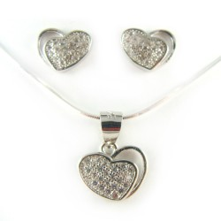 Komplet srebrny serce mikrocyrkonie