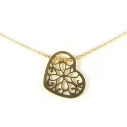 Naszyjnik srebrny pozłacany ażurowe serce
