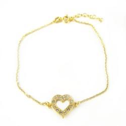 Bransoletka srebrna pozłacana serce