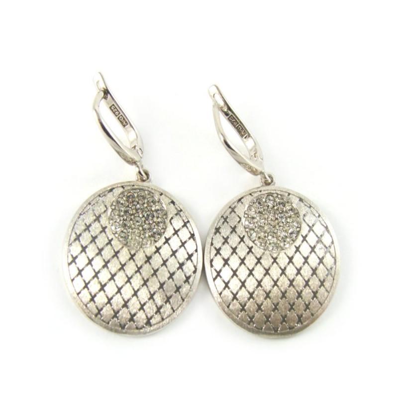Kolczyki srebrne rodowane