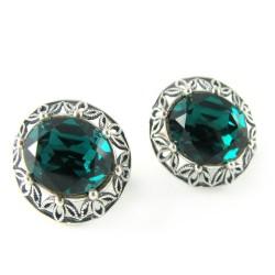 Kolczyki srebrne bigiel angielski Swarovski Emerald