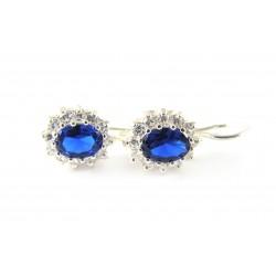 Kolczyki srebrne markiza niebieska cyrkonia