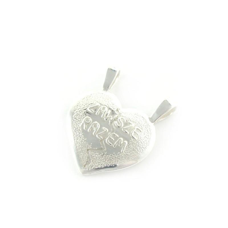 Zawieszka srebrna serce łamane