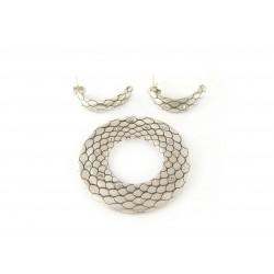 Komplet srebrny satynowany cyrkonie