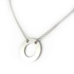 Naszyjnik srebrny rodowany kółko