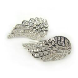 Kolczyki srebrne nausznice skrzydła