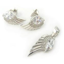 Komplet srebrny anielskie skrzydła