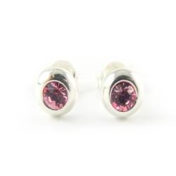 Srebrne kolczyki dziewczęce z różową cyrkonią