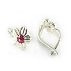 Kolczyki srebrne bigiel dla dziewczynki różowa cyrkonia