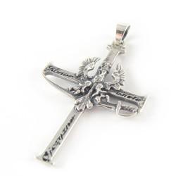 Krzyżyk srebrny oksydowany orzeł