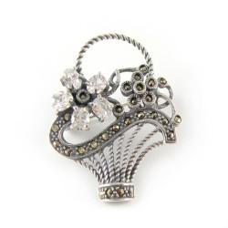 Broszka srebrna oksydowana kosz cyrkonie