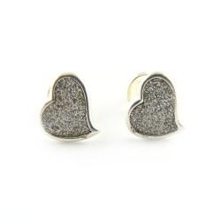 Kolczyki srebrne na sztyfcie serca