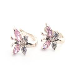kolczyki srebrne motylek różowa cyrkonia