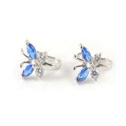 Kolczyki srebrne niebieski motylek