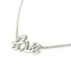 "Naszyjnik srebrny rodowany ""Love"""