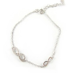 Bransoletka srebrna rodowana infinity