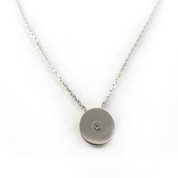 Naszyjnik srebrny kółko z cyrkonią