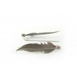 Kolczyki srebrne nausznice - piórka