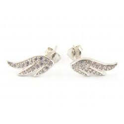 Kolczyki srebrne rodowane skrzydła