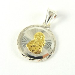 Medalik srebrny Matka Boska Częstochowska pozłacana