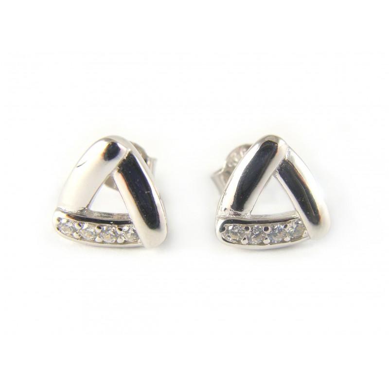 Kolczyki srebrne na sztyfcie trójkąty