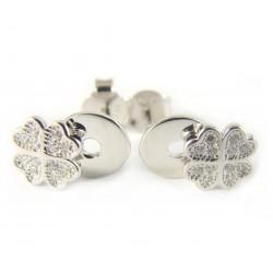 Kolczyki srebrne na sztyfcie koniczynki
