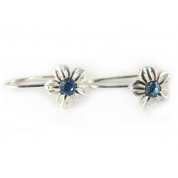 Kolczyki srebrne na biglu błękitna cyrkonia