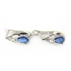 Kolczyki srebrne rodowane nibieska cyrkonia