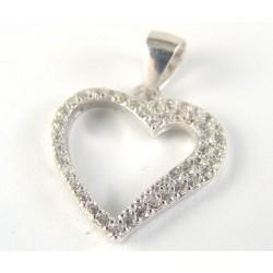 Wisiorek srebrny rodowane serce
