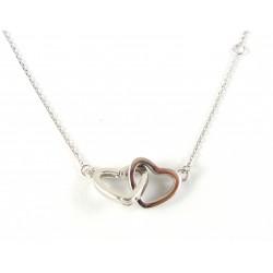 Naszyjnik srebrny dwa serca