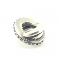 Przekładka srebrna - koralik modułowy oksydowany