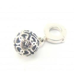 Koralik srebrny modułowy - kulka z serduszkami