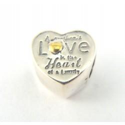 Koralik srebrny z napisem LOVE