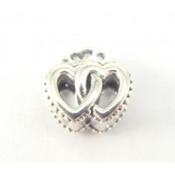 Przekładka srebrna - podwójne serce z koroną
