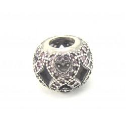 Przekładka srebrna - infinity z różową cyrkonią
